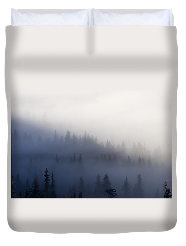 Clouds Duvet Cover featuring the photograph Piercing The Veil by Mike Dawson