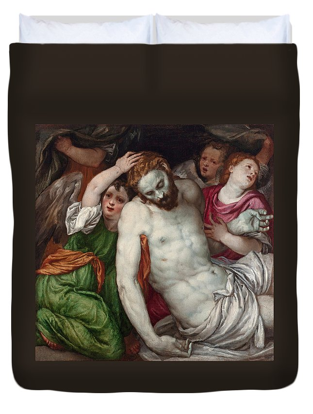 Lambert Sustris Duvet Cover featuring the painting Pieta And Angels by Lambert Sustris