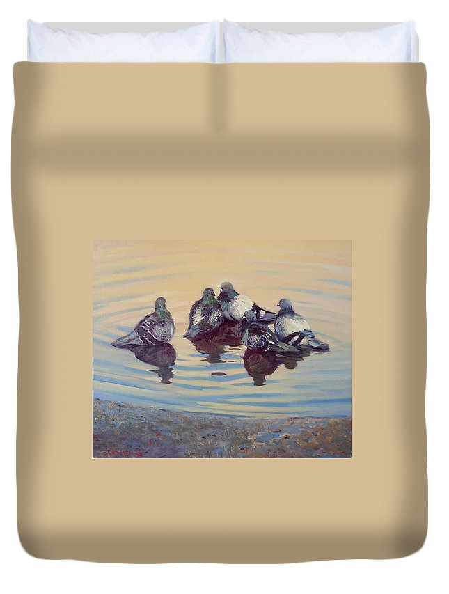 Pigeons Duvet Cover featuring the painting Pigeon Talk by Dianne Panarelli Miller