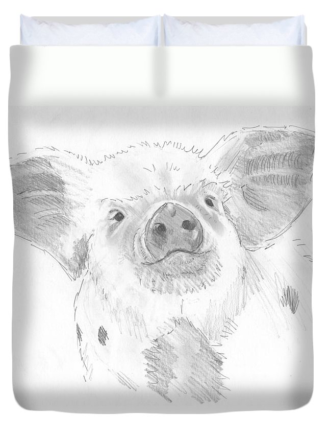 Pig Duvet Cover featuring the drawing Piglet  by Mike Jory