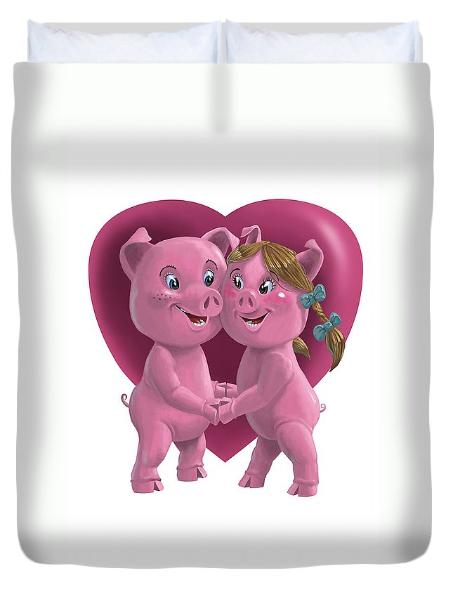 Love Duvet Cover featuring the painting Pigs In Love by Martin Davey