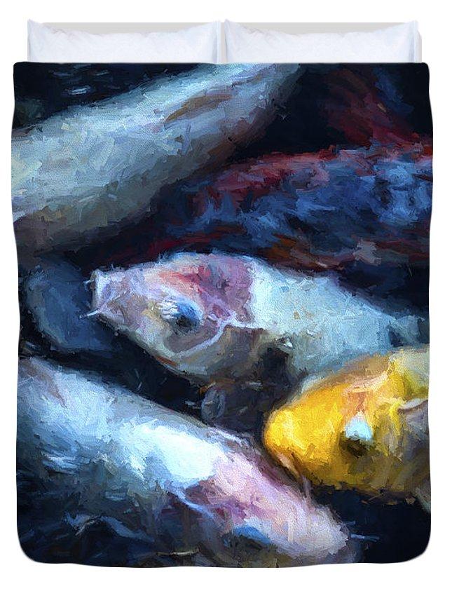 Fish Duvet Cover featuring the digital art Pile Up by Ken Frischkorn