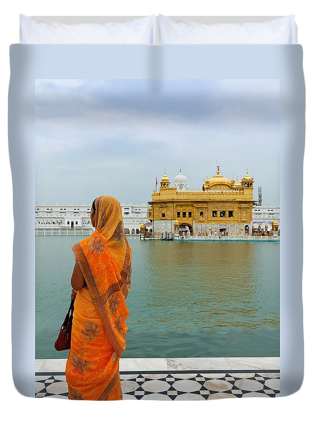 Indian Subcontinent Ethnicity Duvet Cover featuring the photograph Pilgrim In Golden Temple Amritsar, India by Prognone