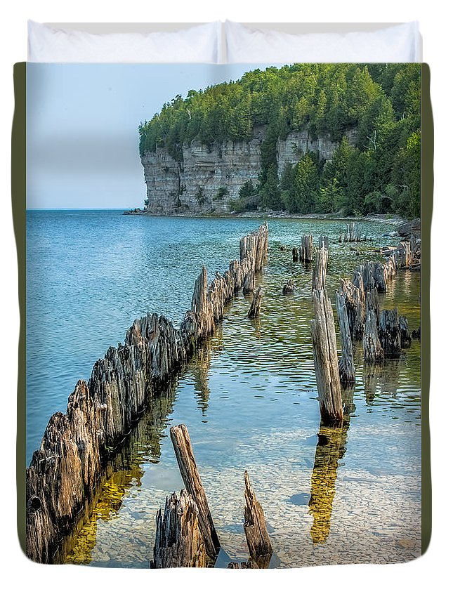 Dock Duvet Cover featuring the photograph Pilings On Lake Michigan by Paul Freidlund