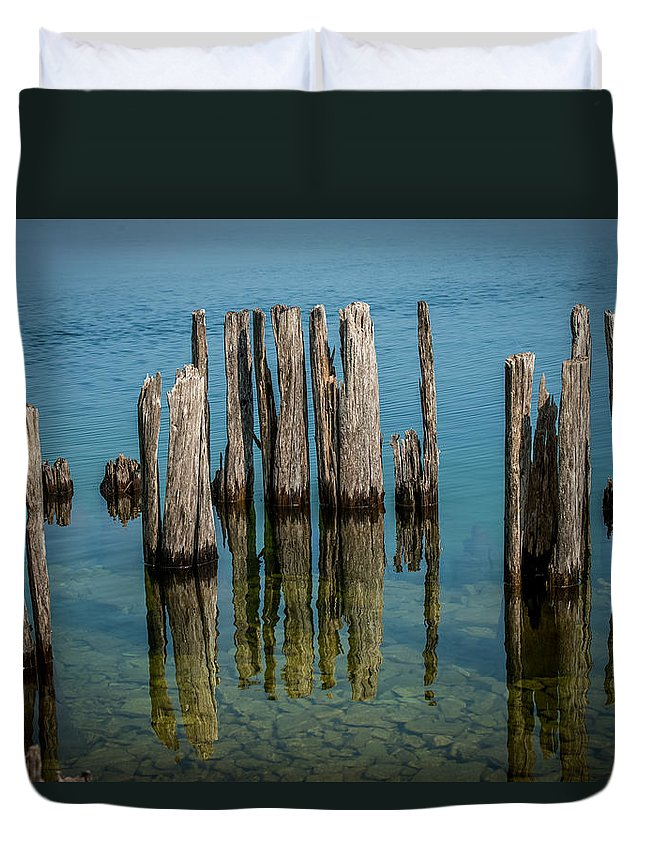 Dock Duvet Cover featuring the photograph Pilings by Paul Freidlund