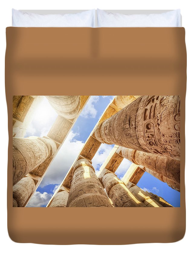 Ancient History Duvet Cover featuring the photograph Pillars Of The Great Hypostyle Hall by Cinoby