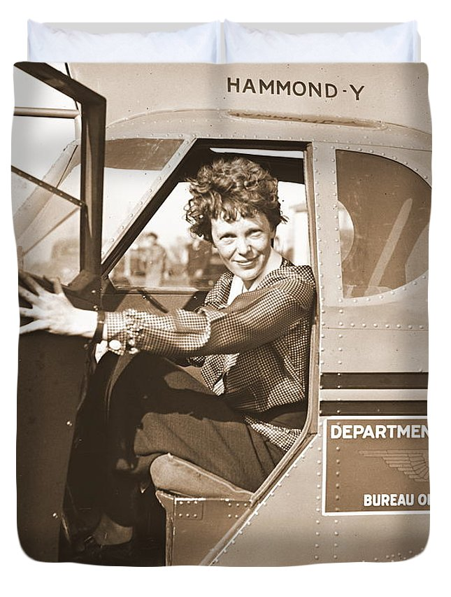 Pilot Amelia Earhart 1936 Duvet Cover featuring the photograph Pilot Amelia Earhart 1936 by Padre Art