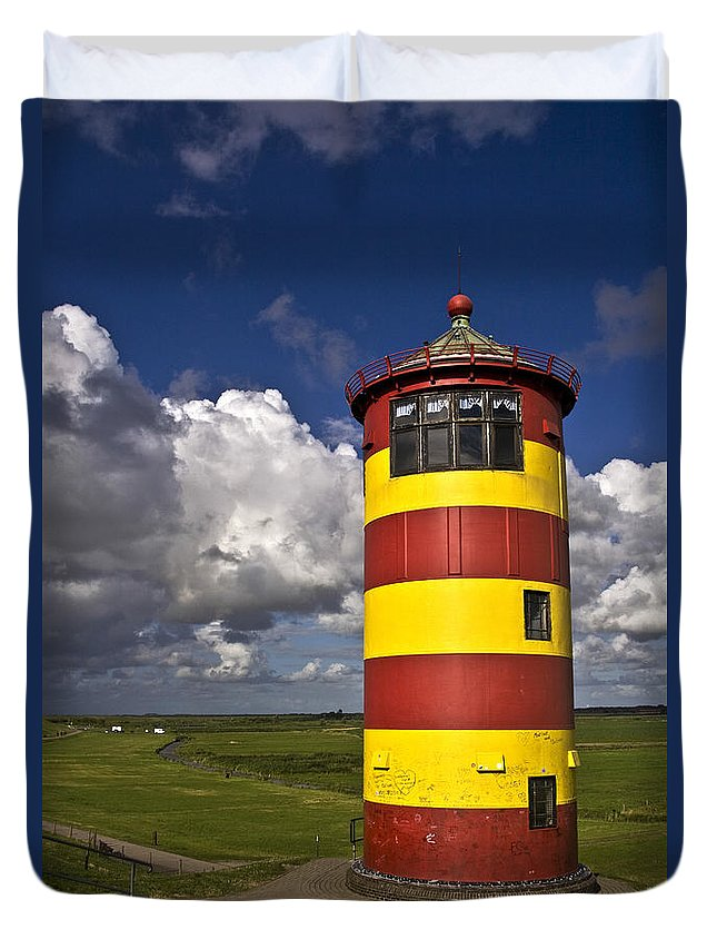 Heiko Duvet Cover featuring the photograph Pilsum Lighthouse by Heiko Koehrer-Wagner