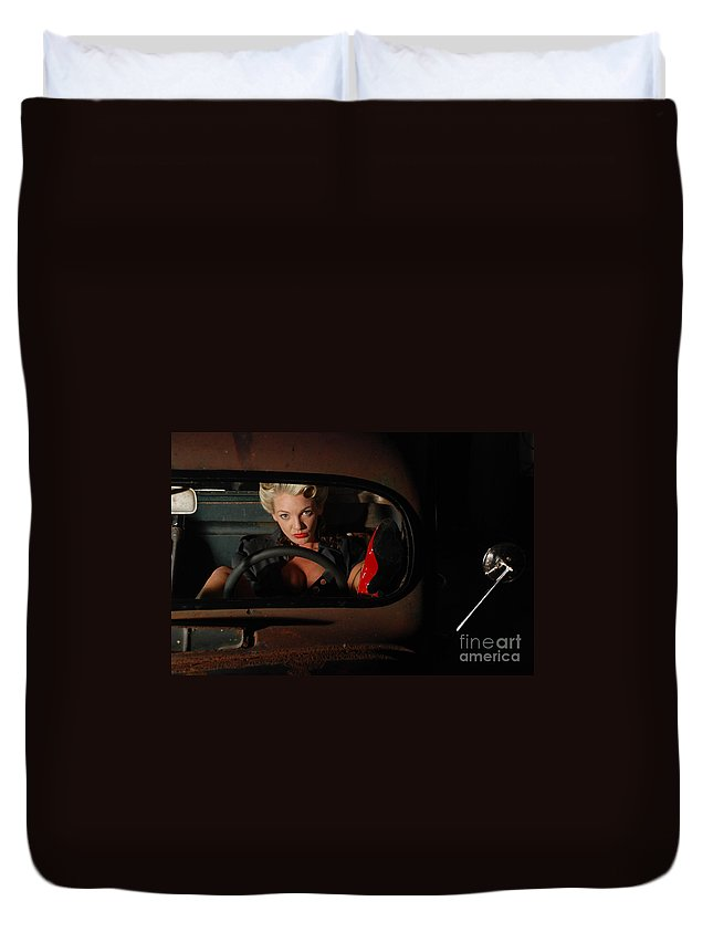 1930 Duvet Cover featuring the photograph Pin Up Girl In A Classic Rat Rod Car by Jt PhotoDesign