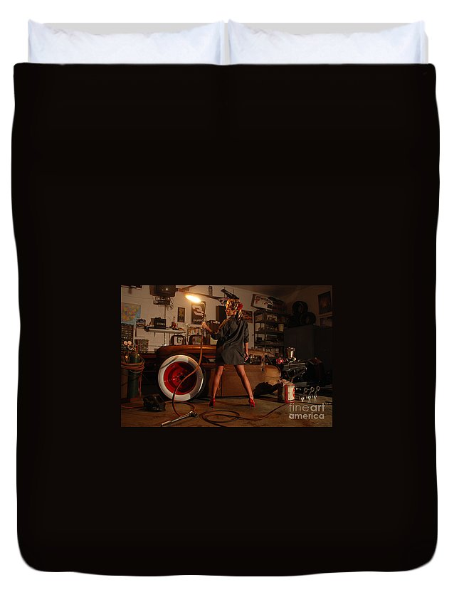 1930 Duvet Cover featuring the photograph Pin Up Girl With Blow Torch by Jt PhotoDesign