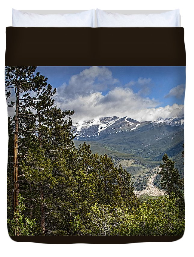 Estes Park Duvet Cover featuring the photograph Pine Trees In The Rocky Mountain National Park by Randall Nyhof
