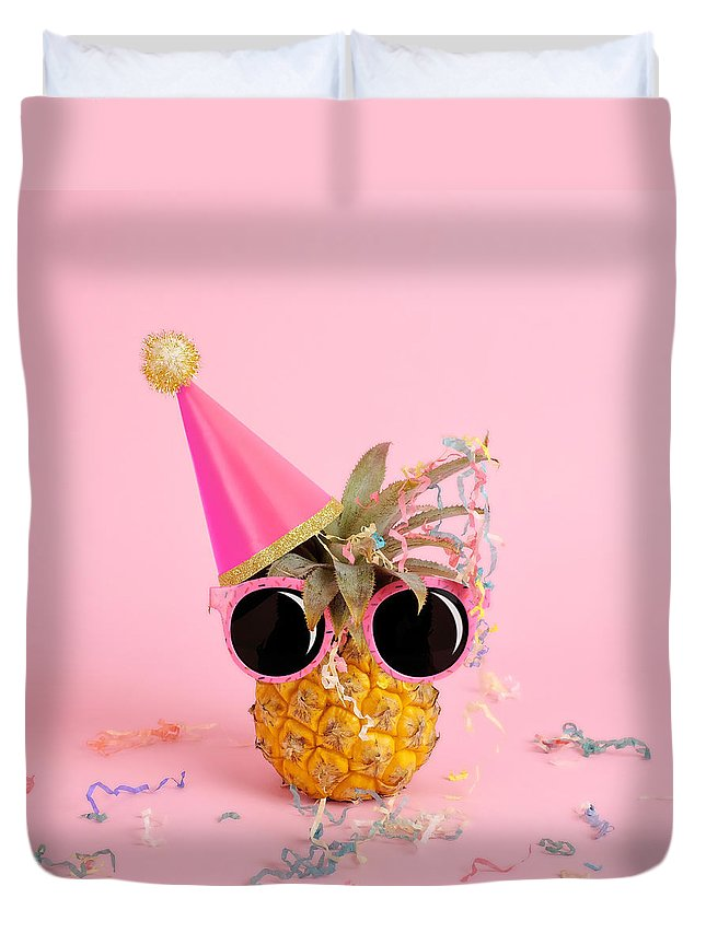 Celebration Duvet Cover featuring the photograph Pineapple Wearing A Party Hat And by Juj Winn