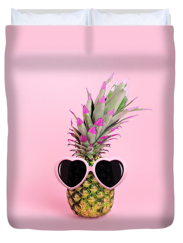 Food Duvet Cover featuring the photograph Pineapple Wearing Sunglasses by Juj Winn