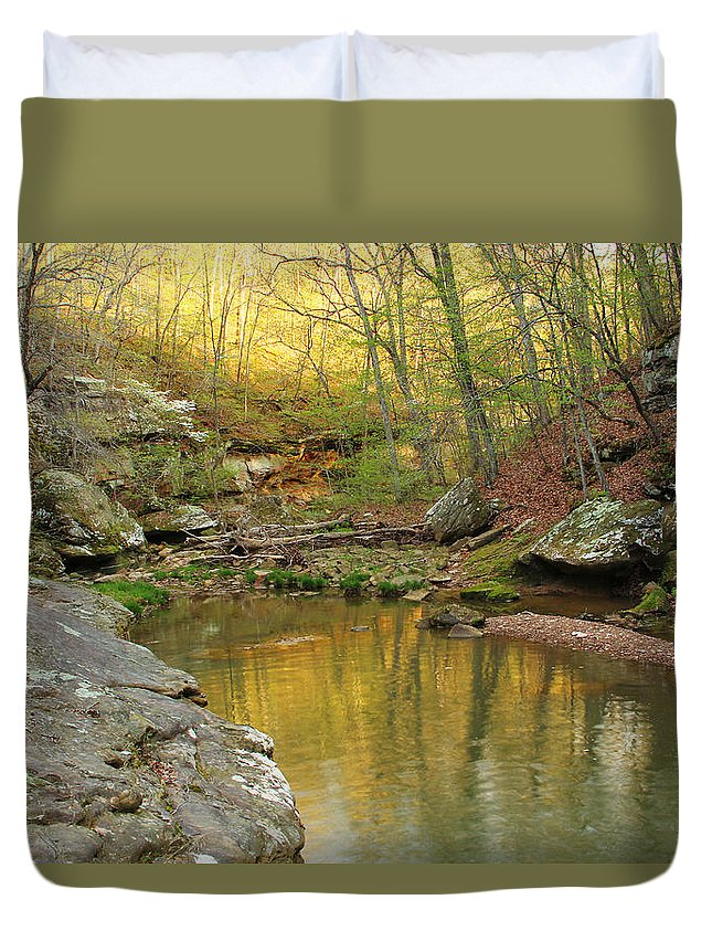 Piney Creek Duvet Cover featuring the photograph Piney Creek Reflections by Greg Matchick