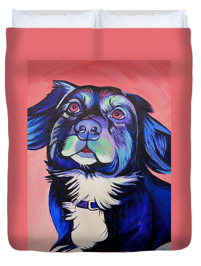 Dog Portraits Duvet Cover featuring the painting Pink And Blue Dog by Joshua Morton