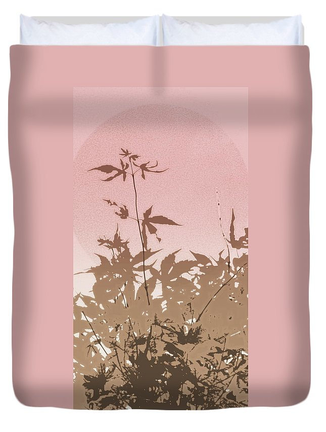 Leaves Duvet Cover featuring the photograph Pink And Brown Haiku by Kathy Barney