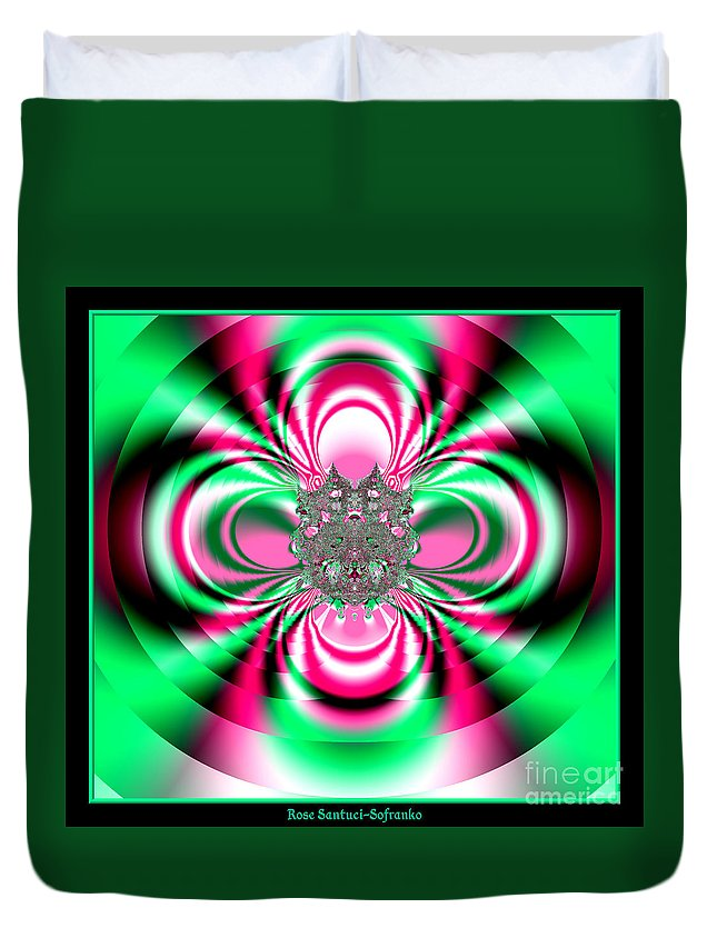 Flower Duvet Cover featuring the digital art Pink And Green Rotating Flower Fractal 74 by Rose Santuci-Sofranko