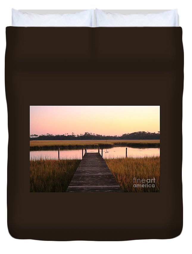 Pink Duvet Cover featuring the photograph Pink And Orange Morning On The Marsh by Nadine Rippelmeyer