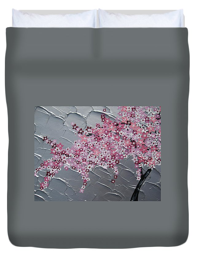 Cherry Blossom Duvet Cover featuring the painting Pink And White Cherry Blossom by Cathy Jacobs