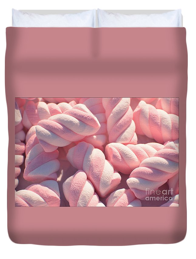 Marshmallows Duvet Cover featuring the photograph Pink And White Marshmallows by Luv Photography