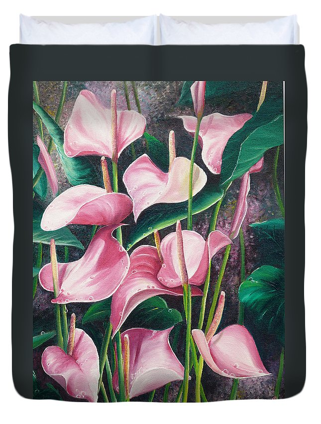 Floral Flowers Lilies Pink Duvet Cover featuring the painting Pink Anthuriums by Karin Dawn Kelshall- Best