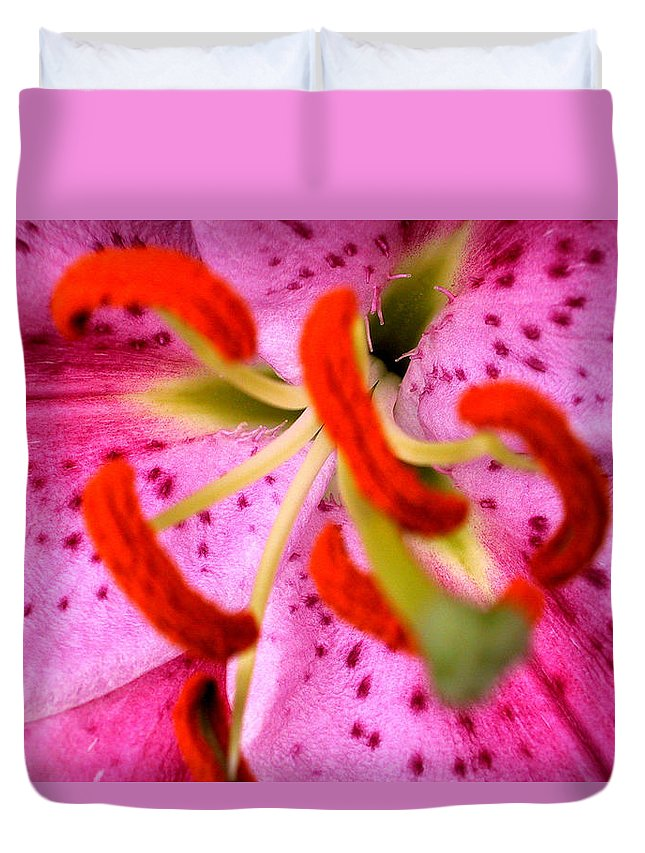 Anther Duvet Cover featuring the painting Pink Aroma by Sarah OToole