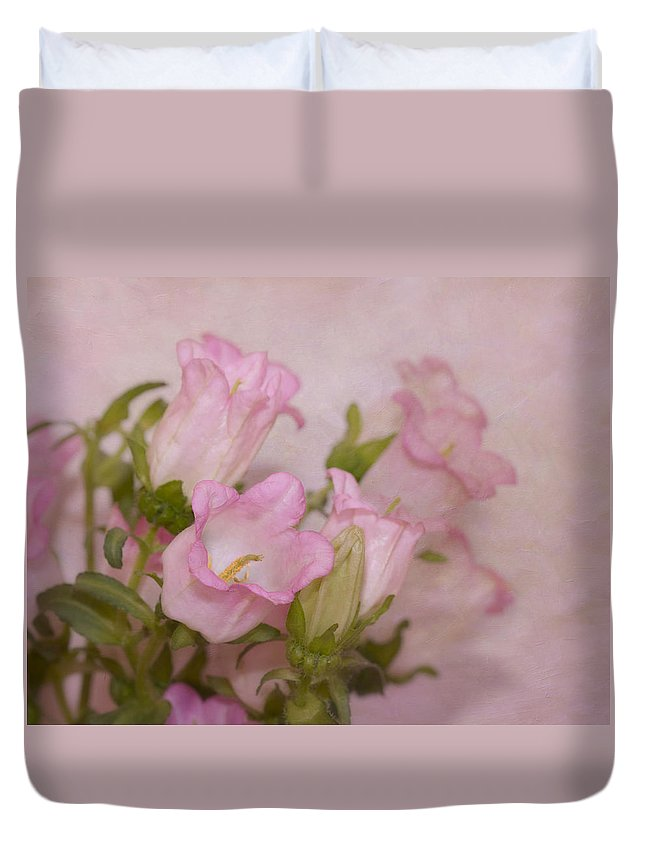 Flower Duvet Cover featuring the photograph Pink Bell Flowers by Kim Hojnacki