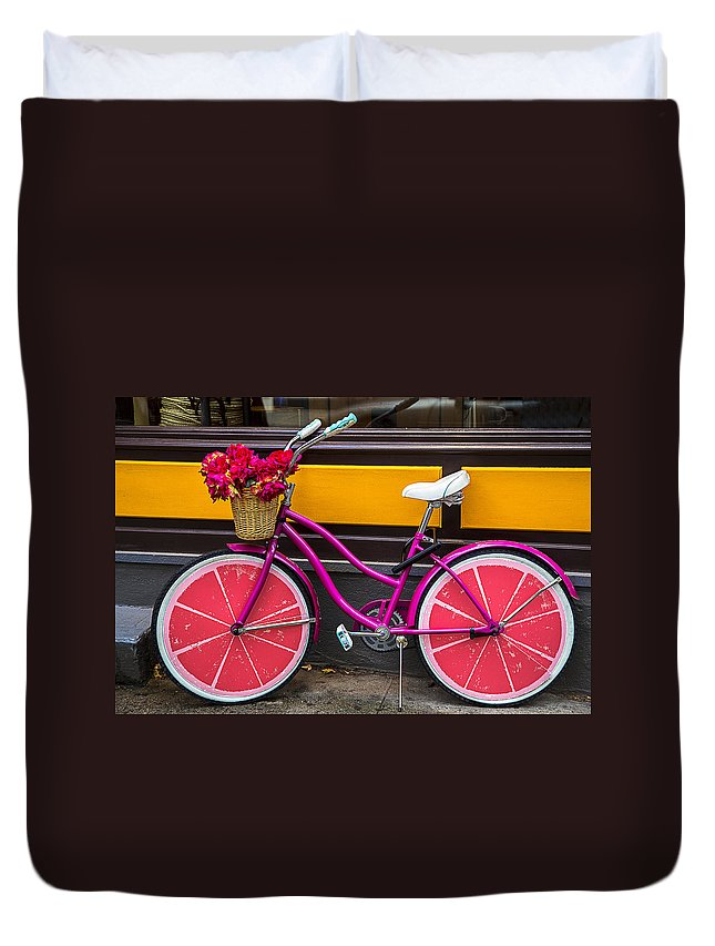Pink Duvet Cover featuring the photograph Pink Bike by Garry Gay