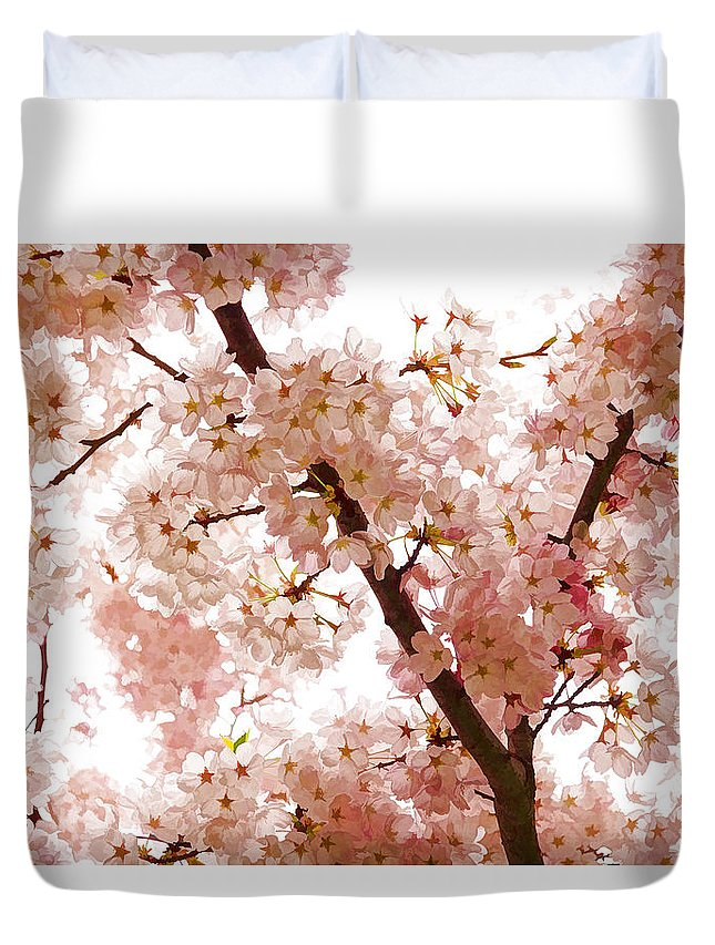 Pink Duvet Cover featuring the digital art Pink Cherry Blossoms - Impressions Of Spring by Georgia Mizuleva