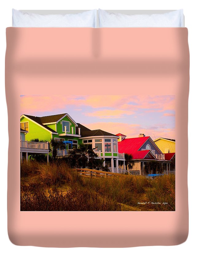 Kendall Kessler Duvet Cover featuring the photograph Pink Clouds At Isle Of Palms by Kendall Kessler