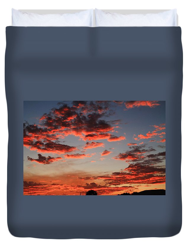Sunset Duvet Cover featuring the photograph Pink Clouds by Catie Canetti