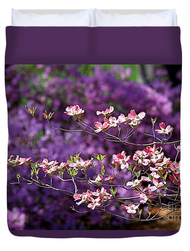 Pink Dogwood Duvet Cover featuring the photograph Pink Dogwood With Purple Azaleas by Catherine Sherman