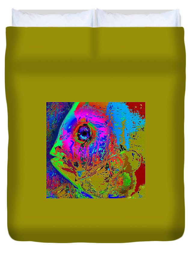 Pink Duvet Cover featuring the painting Pink Eye by David Lee Thompson