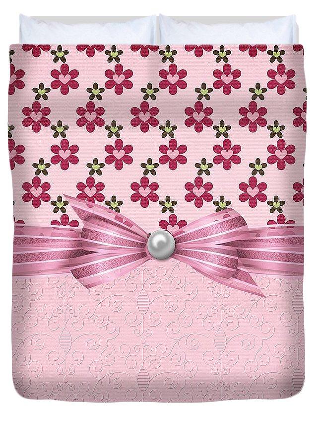 Flowers Duvet Cover featuring the digital art Pink Flowered Hearts by Debra Miller
