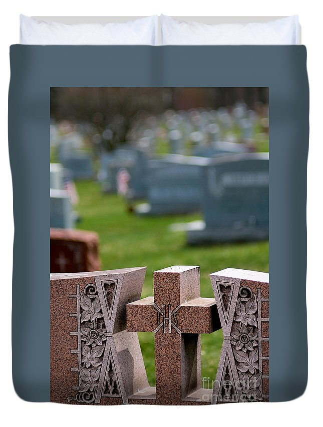 Burial Duvet Cover featuring the photograph Pink Granite Tombstone by Amy Cicconi