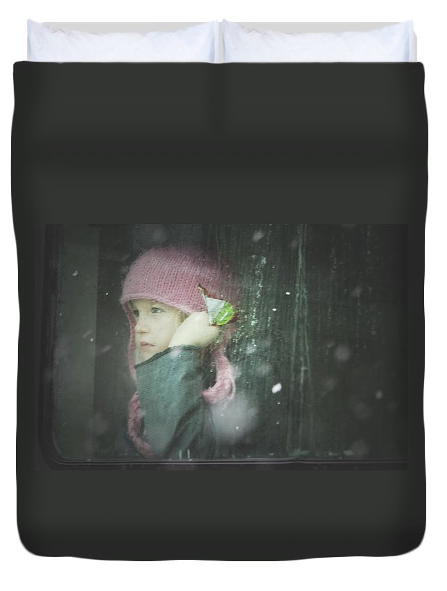 Children Duvet Cover featuring the photograph Pink Hat by Valerie Rosen