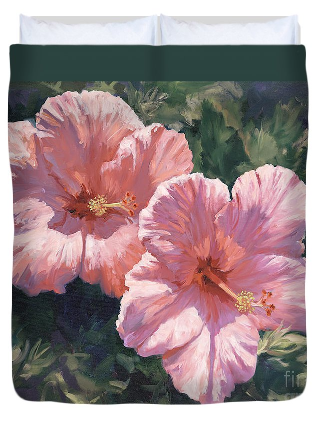 Pink Hibiscus Duvet Cover featuring the painting Pink Hibiscus by Laurie Snow Hein