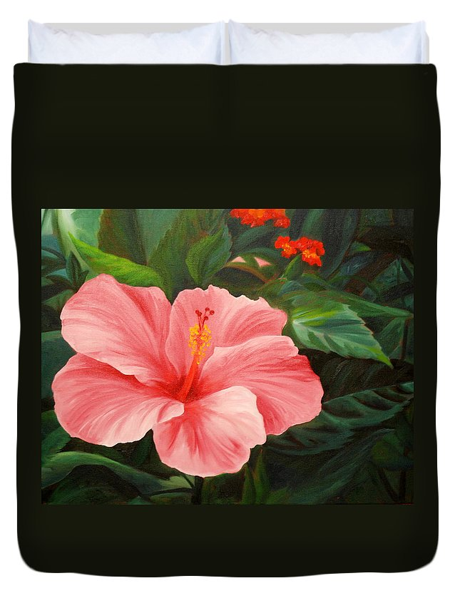 Pink Duvet Cover featuring the painting Pink Hibiscus by Rachel Lawson