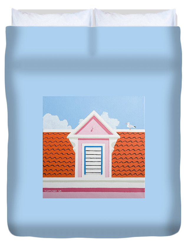 Caribbean House Architecture Curacao Aruba Antilles Sun Pink Color Duvet Cover featuring the painting Pink House by Trudie Canwood