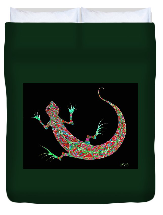 Painting Duvet Cover featuring the digital art Pink Lizard On Black by Stephanie Grant