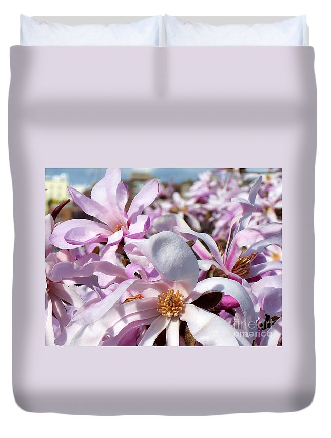 Blossom Duvet Cover featuring the photograph Pink Magnolia by Lena Photo Art