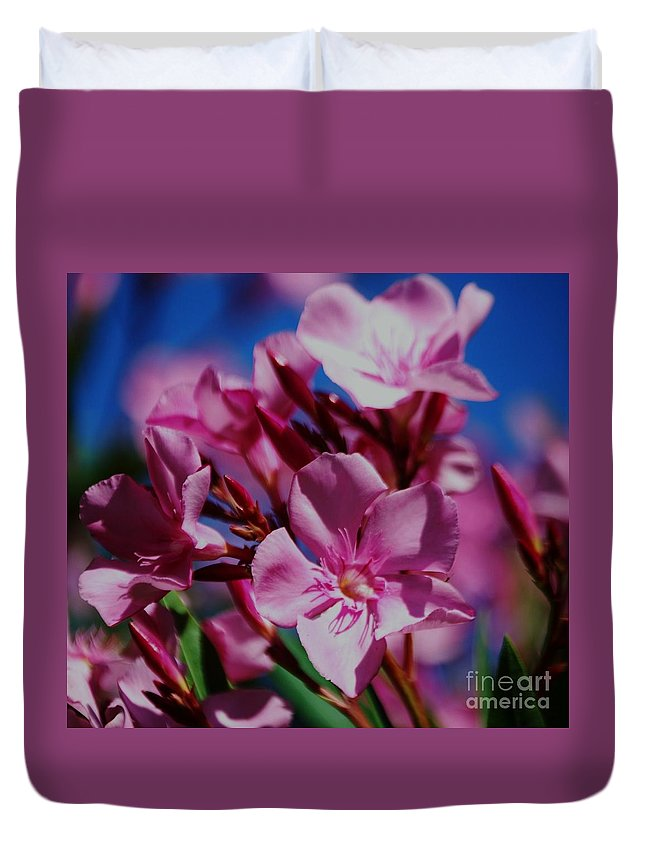 Oleanders Photography Floral Photography Bermuda Photography Tropical Flora Photography Stock Shot Photography Pink Photography Nature Photography Macro Photography Metal Frame Suggested Greeting Card It's A Girl Birth Card Duvet Cover featuring the photograph Pink Oleanders 2 by Marcus Dagan