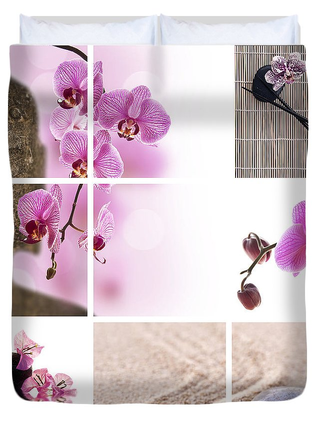 Buddha Duvet Cover featuring the photograph Pink Orchid And Buddha Collage by Delphimages Photo Creations