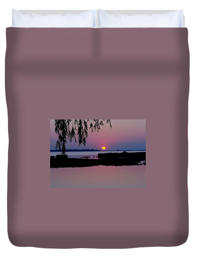 Pink Duvet Cover featuring the photograph Pink Paradise Pond by Frozen in Time Fine Art Photography