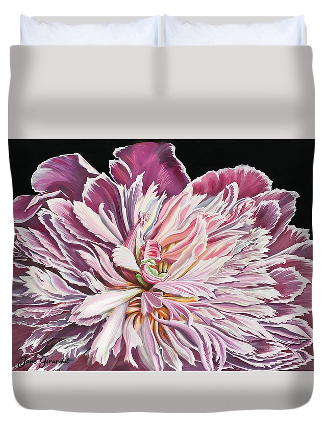 Flower Duvet Cover featuring the painting Pink Peony by Jane Girardot