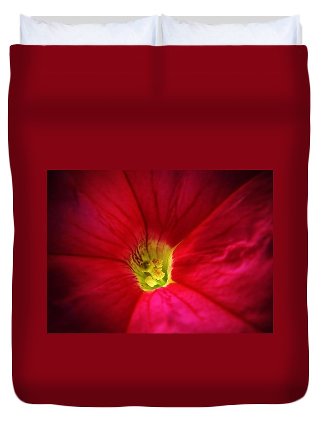 Petunia Duvet Cover featuring the photograph Pink Petunia by Chris Berry
