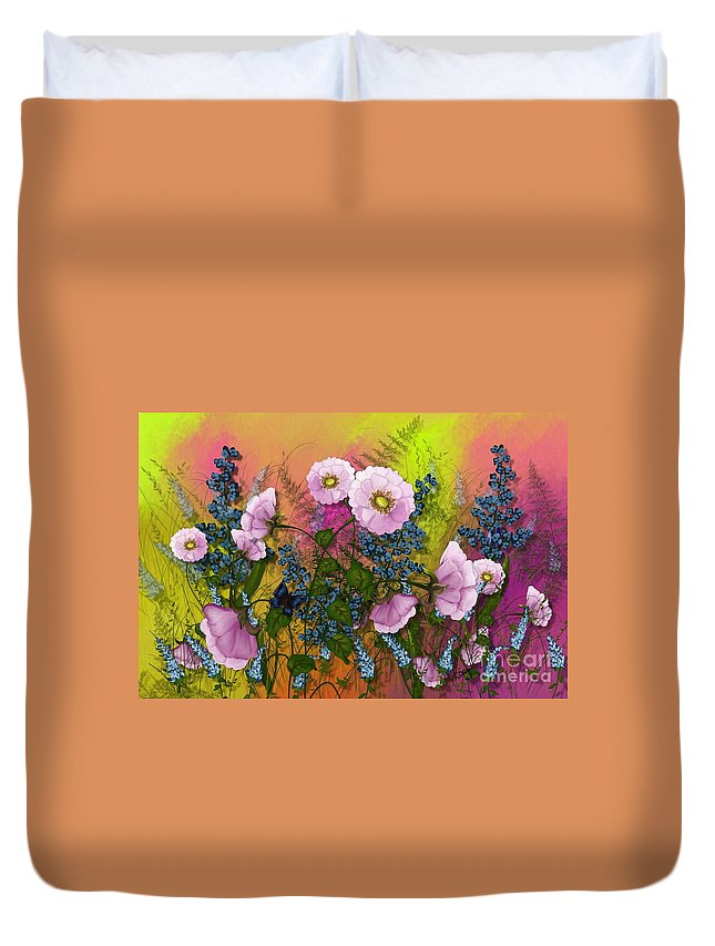 Yellow Duvet Cover featuring the painting Pink Pleasure by Nancy Long