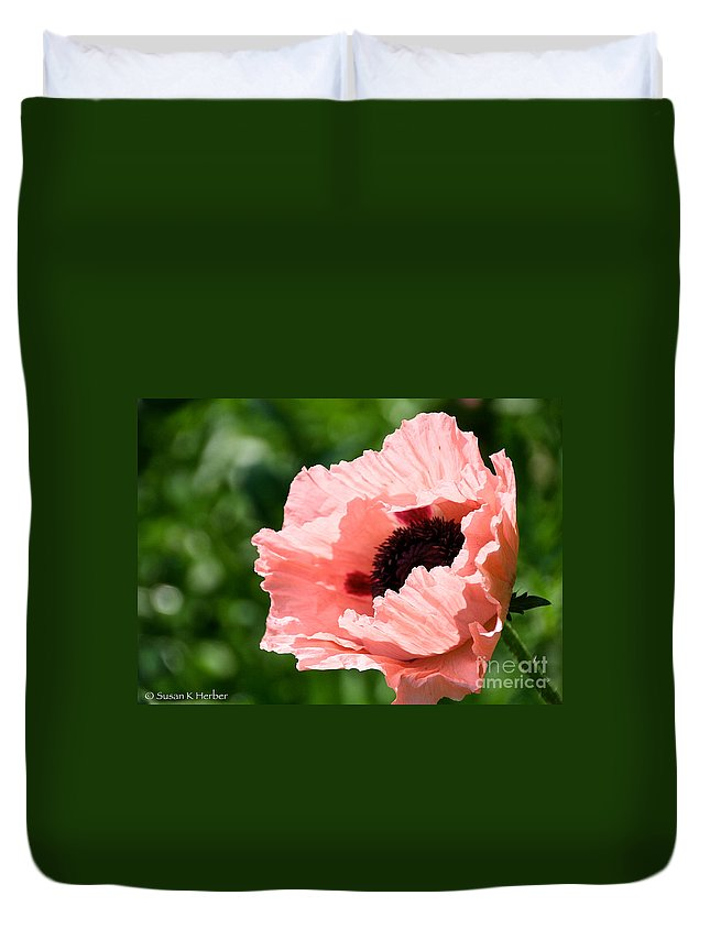 Flower Duvet Cover featuring the photograph Pink Poppy Today by Susan Herber