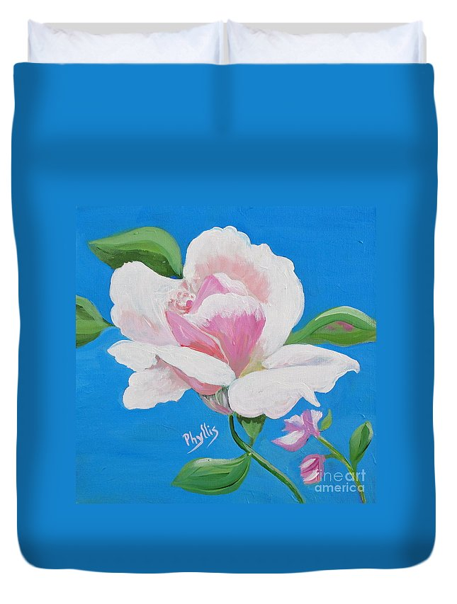 Pink Rose Duvet Cover featuring the painting Pink Rose In Paint by Phyllis Kaltenbach