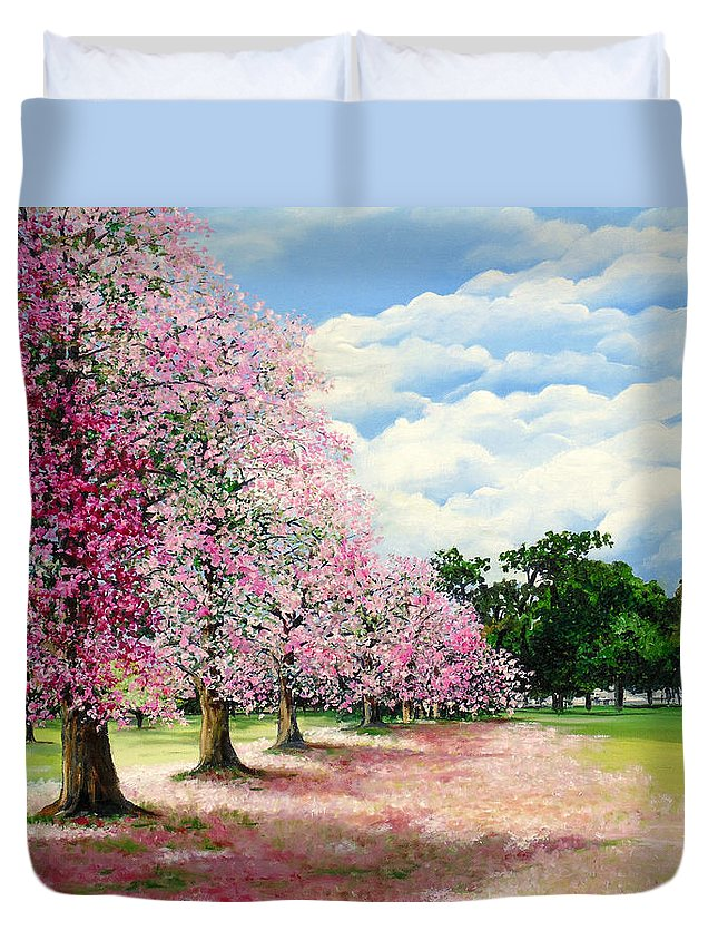 Pink Poui Trees Duvet Cover featuring the painting Pink Savannah Poui by Karin Dawn Kelshall- Best